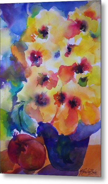Hibiscus In Yellow Metal Print by Therese Fowler-Bailey
