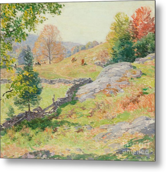 Hillside Pastures, September, 1922 Metal Print