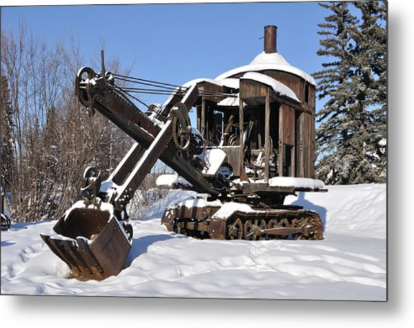 Historic Mining Steam Shovel During Alaska Winter Metal Print