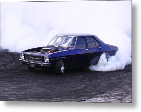 Holden Belmont With 454 Chev Doing A Burnout Metal Print by Stephen Athea