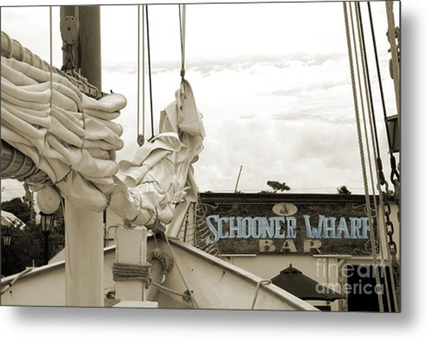 Home On The Wharf-blue-original Metal Print
