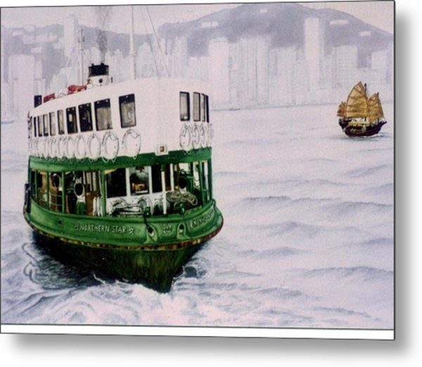Hong Kong Ferry Metal Print