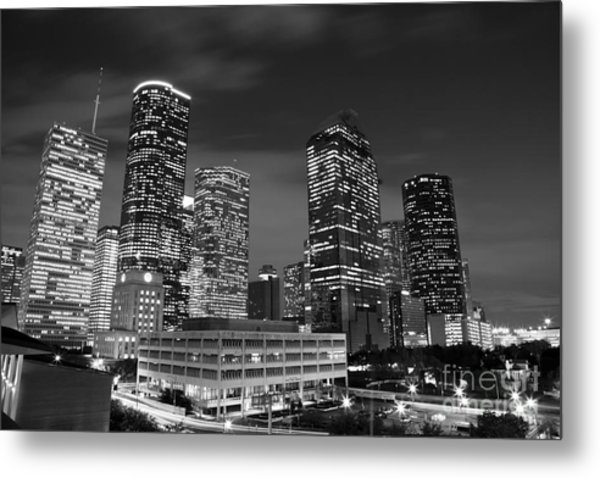 Houston By Night In Black And White Metal Print