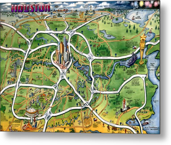 Houston Texas Cartoon Map Metal Print