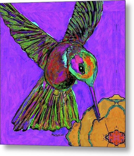 Hummingbird On Purple Metal Print