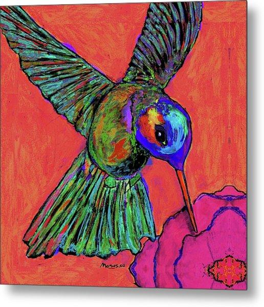 Hummingbird On Red Metal Print