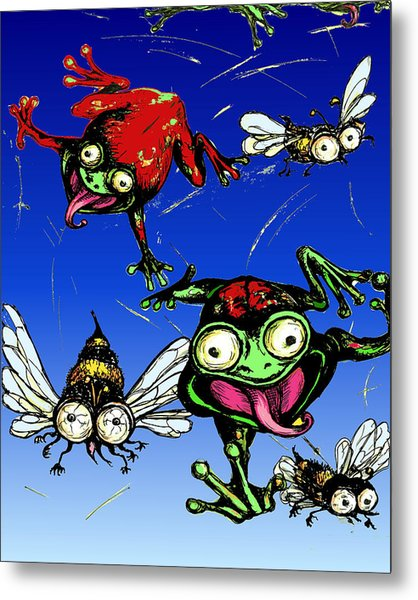Hungry Frogs Metal Print