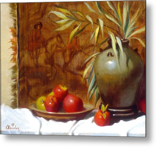 Hunting Tapestry With Chinese Vase And Apples Metal Print by David Olander