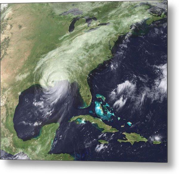 Hurricane Katrina Over Southeast Metal Print by Everett