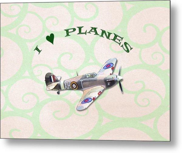 I Love Planes - Hurricane Metal Print