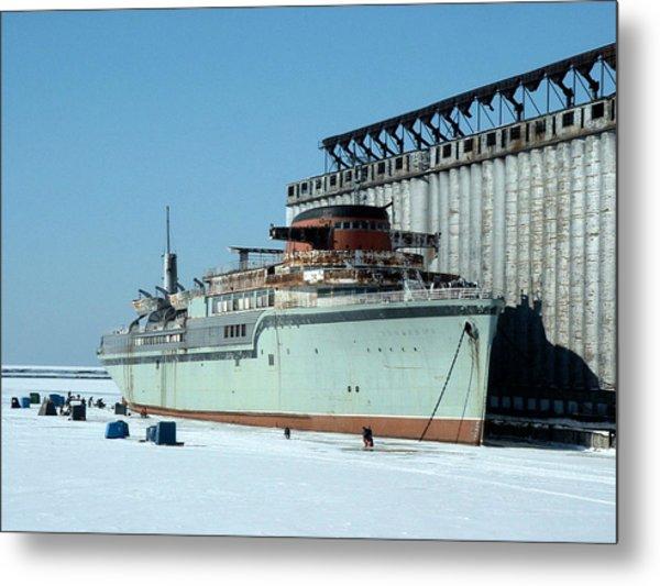 Ice Fishing On Lake Erie Metal Print