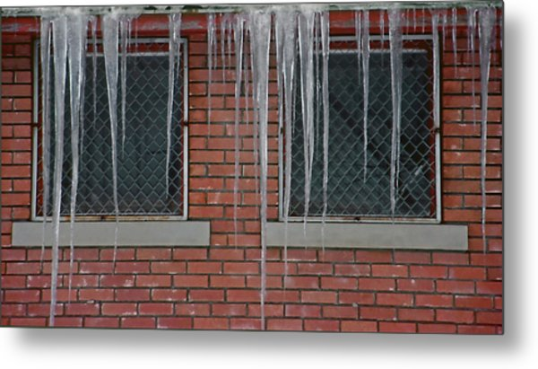 Icicles 2 - In Front Of Windows Off Red Brick Bldg. Metal Print by Steve Ohlsen