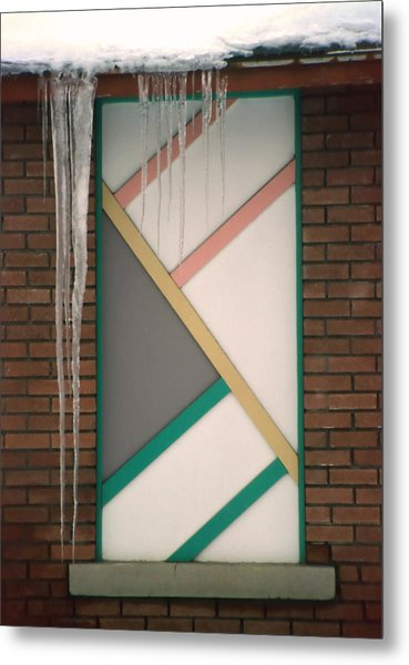Icicles 3 - In Front Of Architectural Design Off Red Brick Bldg. Metal Print by Steve Ohlsen