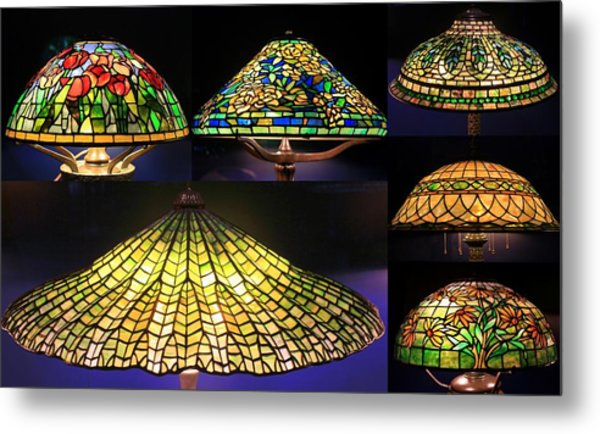 Illuminated Tiffany Lamps - A Collage Metal Print