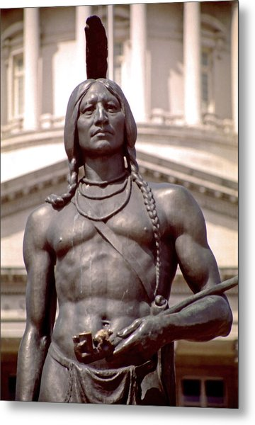 Indian Statue At Utah State Capitol Metal Print by Steve Ohlsen