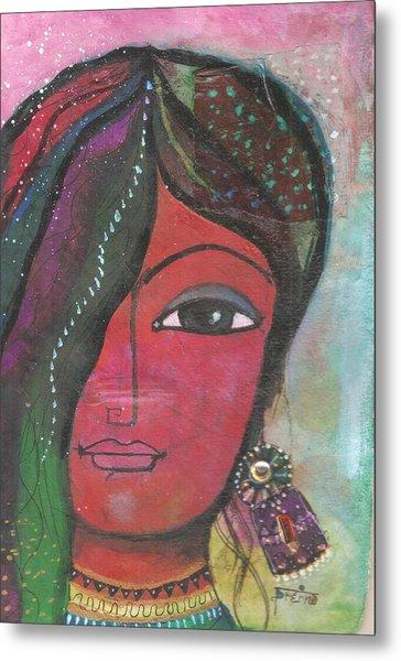 Indian Woman Rajasthani Colorful Metal Print