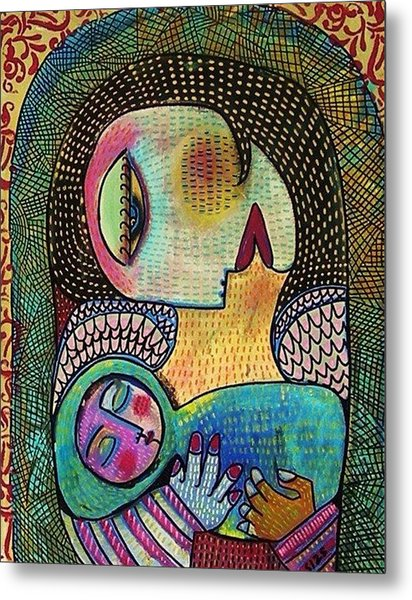 Indigo Tapestry Angel Mother And Child Metal Print