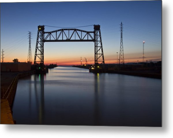 Metal Print featuring the photograph Industrial River Scene At Dawn by Sven Brogren