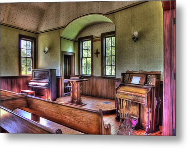 Inside The Oysterville Church  Metal Print