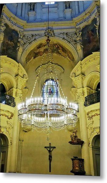 Interior Evening View Of St. Nicholas Church In Prague Metal Print