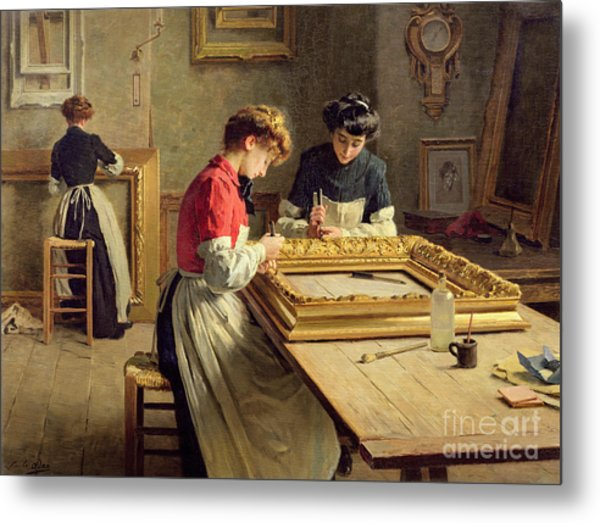 Interior Of A Frame Gilding Workshop Metal Print