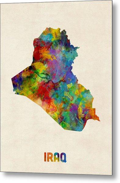 Iraq Watercolor Map Metal Print