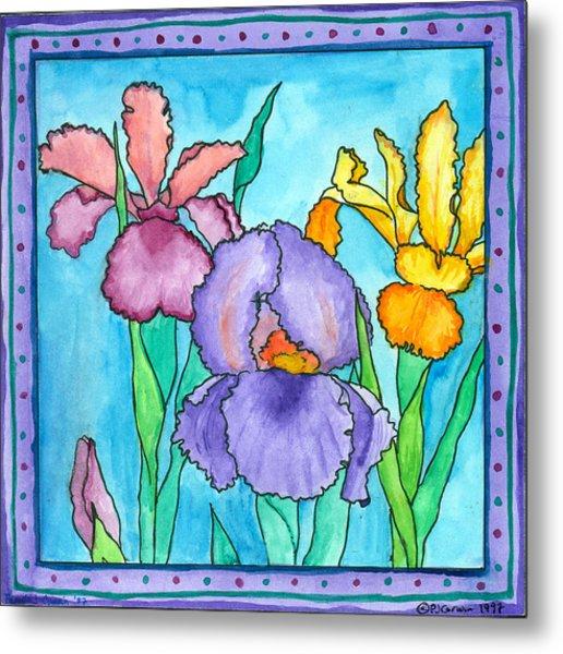 Irises Metal Print by Pamela  Corwin