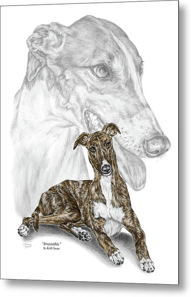 Irresistible - Greyhound Dog Print Color Tinted Metal Print