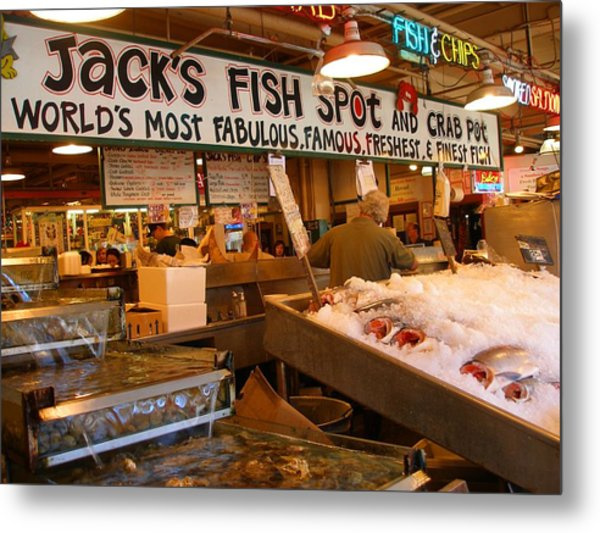 Jacks Fish Spot And Crab Pot-seattle Pike Place Market Metal Print by Candace Garcia