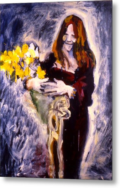Janis With Yellow Roses Metal Print