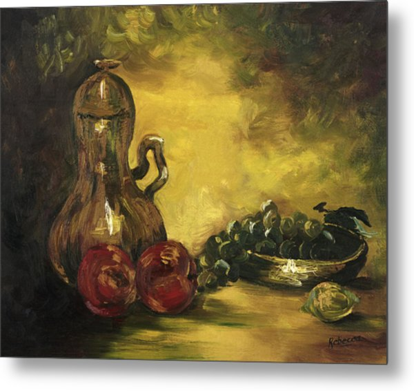 Jar With Fruit Metal Print