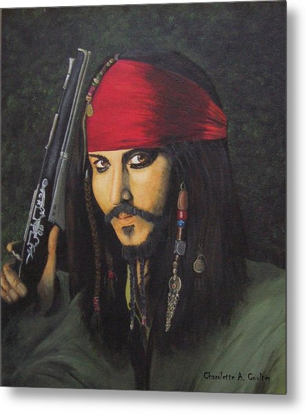 Johnny Depp- Captain Jack Metal Print by Charolette A Coulter