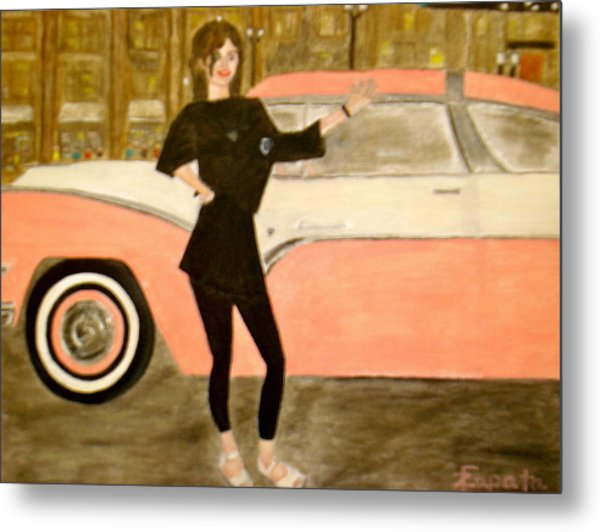 karen-Model in black with pink car Metal Print