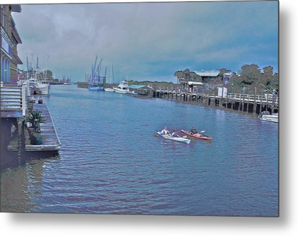 kayaking on Shem Creek Metal Print