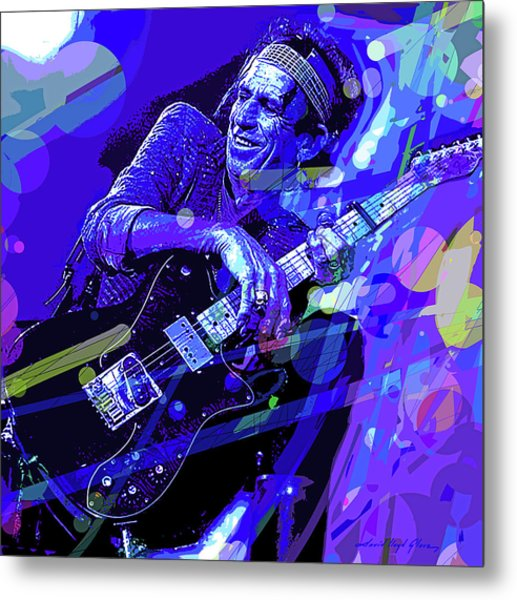 Keith Richards Blue Metal Print