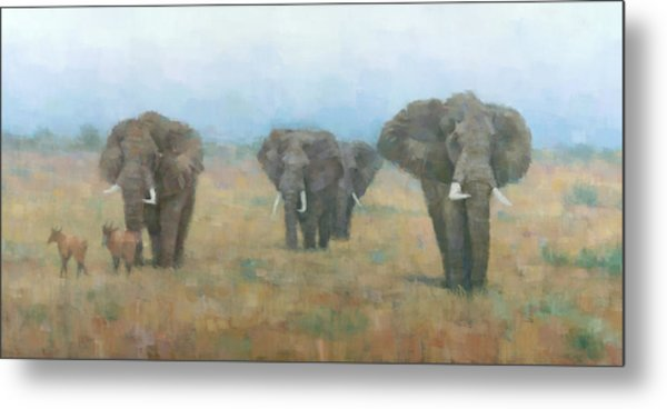Kenyan Elephants Metal Print