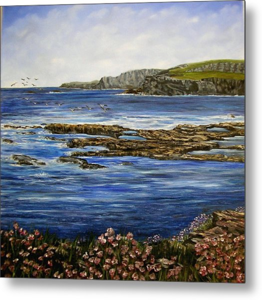 Kilkee Cliffs Ireland Oil Painting Metal Print by Avril Brand