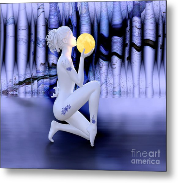 Kissing The Moon Metal Print