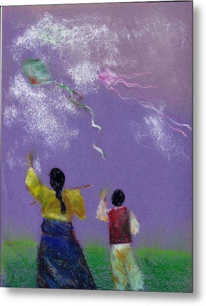 Kite Flying Metal Print by Mui-Joo Wee