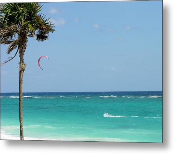 Kitesurfing The Caribbean Metal Print
