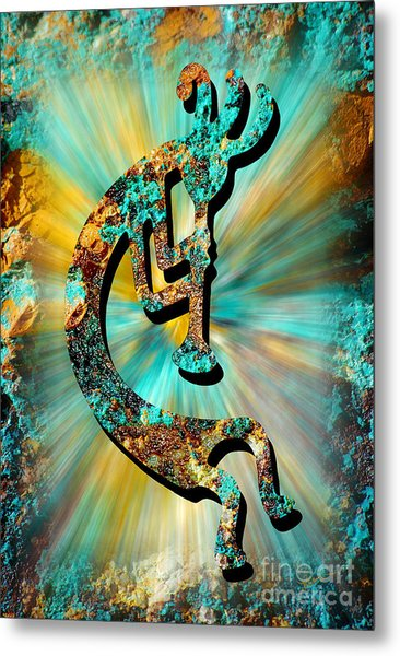 Kokopelli Turquoise And Gold Metal Print