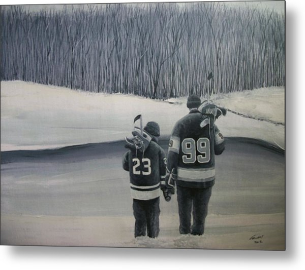 La Kings In Black And White Metal Print by Ron  Genest