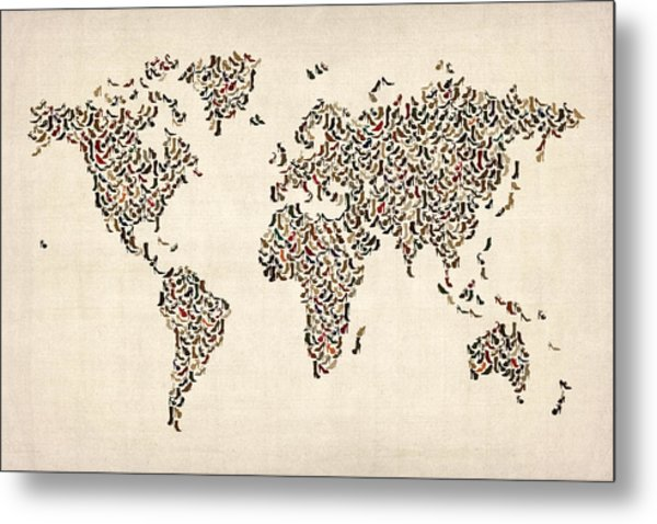 Ladies Shoes Map Of The World Map Metal Print