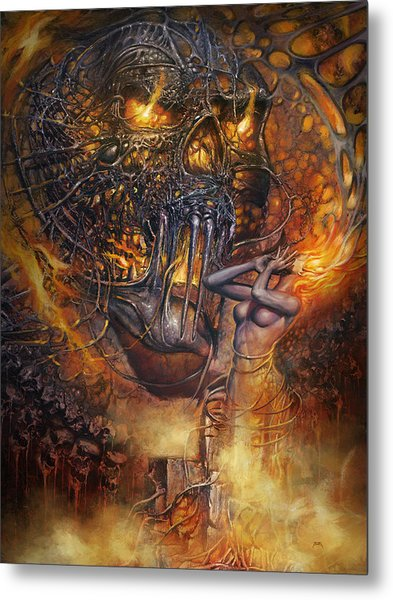 Lady And Skull Metal Print