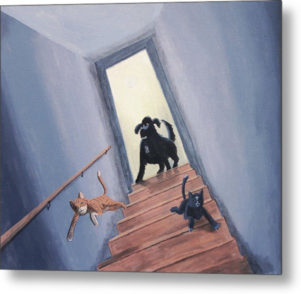 Lady Chases The Cats Down The Stairs Metal Print