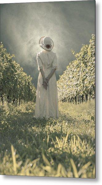 Lady In Vineyard Metal Print