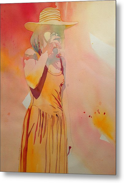 Lady In Yellow Metal Print