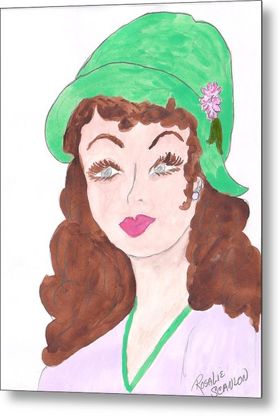 Lady With The Green Hat Metal Print by Rosalie Scanlon