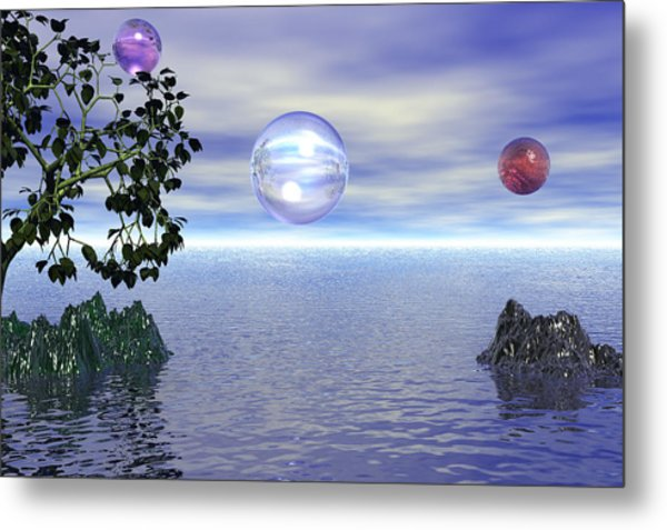 Lake Bubble Planet Metal Print