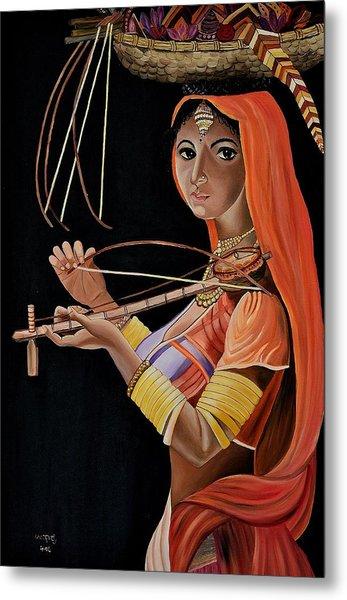 Lambani Girl Metal Print by Usha Rai